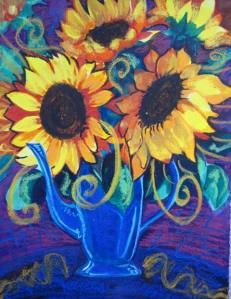 When it rains, I paint sunflowers.