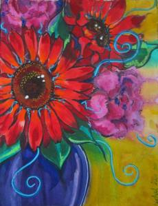 Rachel Heu's Red Sunflowers and Pink Peonies