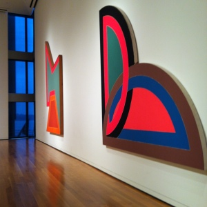 Frank Stella: Wolfeboro III 1966 and Sabra I 1967. At Seattle Art Museum... this was about at 3 in the afternoon... I love the contrast with the paintings and the blue/gray skies outside.