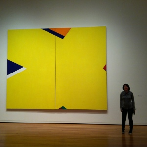 "Al Held: The Yellow X, 1965. I'm in the photo to give an idea of scale. I'm 5'8"". Seattle Art Museum, Acrylic on Canvas, American, 1928-2005, Gift of Virginia and Bagley Wright 2013.11"