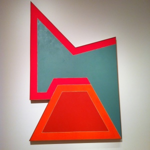 Frank Stella: Wolfeboro III, 1966. The lessons are in the details. Both the Stella paintings are large-scale like the Al Held Yellow X painting. Seattle Art Museum, Fluorescent alkyd paint on canvas, American, born 1936, Gift of Mr. and Mrs. Bagley Wright