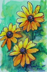 Rachel Heu, Watercolor daisies, Watercolor floral 001