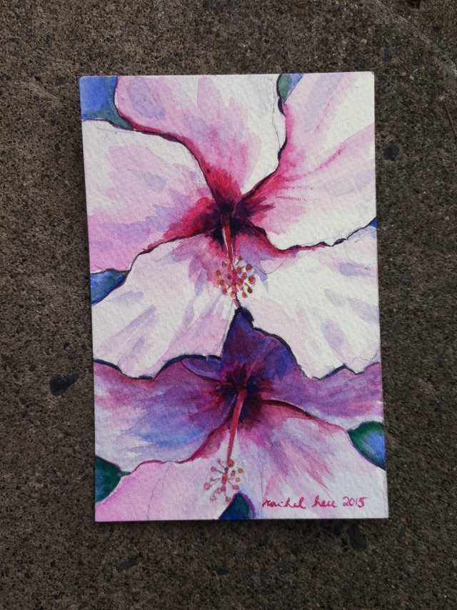 Miniature watercoor painting of Pink Hibiscus by Rachel Heu 2015