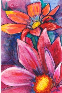 Rachel Heu, Watercolor clematis, Watercolor floral