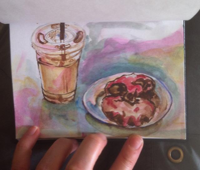 Cold brew coffee buzz, Watercolor sketch by Rachel Heu