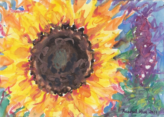 "Cra-pas Sunflower and purple flower 5""x7"""